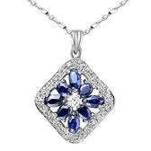 藍寶石項鍊925純銀墜子-0.3克拉生日情人節禮物方形鑲鑽女飾品53sa33[巴黎精品]