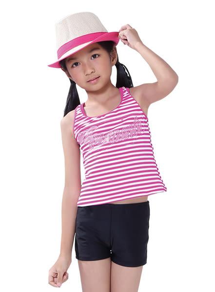★奧可那★ 運動粉白條紋兩件式泳裝
