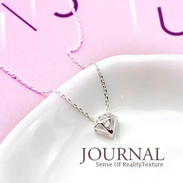925純銀 閃耀鑽石幾何 鎖骨鍊 短項鍊_質物日誌Journal