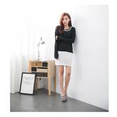 【2%】2%黑白拼色鑽領洋裝-黑