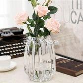 簡約幾何豎棱玻璃花瓶透明 水培花器 現代插花瓶家居客廳工藝擺設 走心小賣場