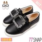 厚底樂福鞋-TTSNAP MIT方形水鑽牛紋真皮休閒鞋 黑/白
