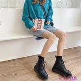 黑色馬丁靴女春新款百搭時尚英倫風粗跟顯腿長短筒加絨機車靴超級品牌【公主日記】