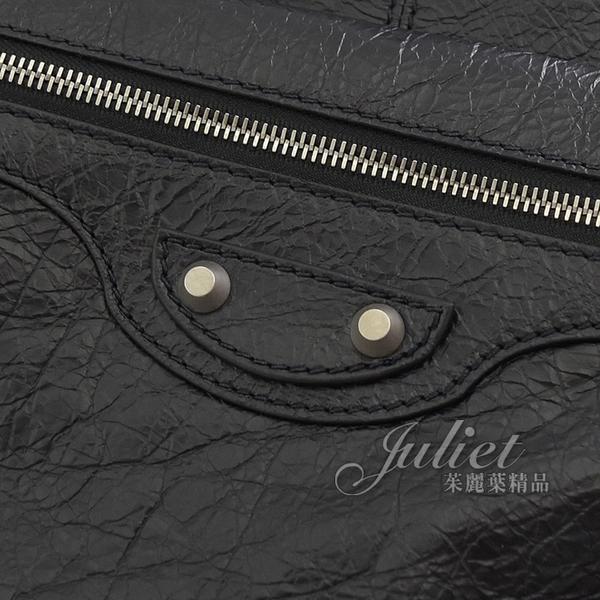 茱麗葉精品【全新現貨】BALENCIAGA 巴黎世家 585012 鉚釘扣仿舊小羊皮大後背包.黑