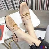 [貝貝居] 豆豆鞋 粗跟單鞋女春秋款百搭中跟方頭奶奶鞋子一腳蹬小皮鞋
