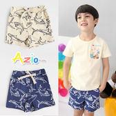 童裝 短褲 滿版框線鯊魚鬆緊短褲(共2色)