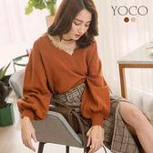 東京著衣【YOCO】經典必備V領前短後長澎澎袖針織衫-S.M.L(172606)