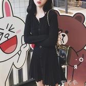 韓風純色氣質寬鬆單排扣長袖洋裝簡約休閒中長款襯衫女 交換禮物