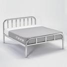 【森可家居】簡約不鏽鋼5尺雙人白鐵床架 8SB085-3