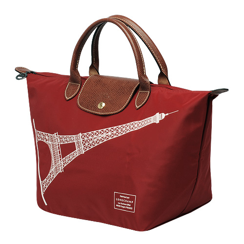 【雪曼國際精品】Longchamp經典限量款M號短把巴黎鐵塔包(棗紅色)-新品現貨