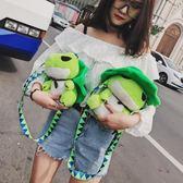 帆布袋 包 小包包女學生日系韓版ins 少女卡通可愛萌系青蛙兒子小挎包單肩包
