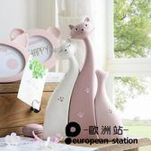 擺件/創意可愛親吻貓咪三口之家組合裝飾品樹脂【歐洲站】