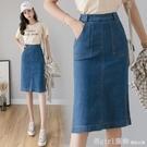 短裙 半身裙女夏季新款韓版高腰顯瘦中長款包臀一步裙彈力百搭牛仔裙潮 618購物節