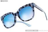 GUCCI 太陽眼鏡 GG3756FS YV5KM (藍-透藍) 搶眼格紋 唯美水銀鏡面款 # 金橘眼鏡