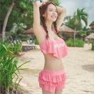 游泳 泳衣 繞頸 綁脖 美胸 褲裙 泳褲 荷葉邊 二件式泳裝 字母印花 溫泉 分體式泳衣