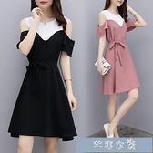 輕熟洋裝套裝大碼遮肚連身裙夏季新款女裝胖mm中長款收腰顯瘦短袖露肩 快速出貨