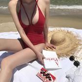 梨卡 - 超火辣性感[交叉+深V性感]鏤空綁帶露背純色遮肚連身泳衣三角連身泳裝CR448