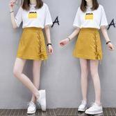 2018夏季新款短袖T恤涼感半身短裙兩件套 ZL469『黑色妹妹』