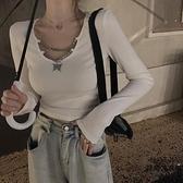 拼接v領性感針織t恤緊身長袖打底衫短款上衣【時尚大衣櫥】