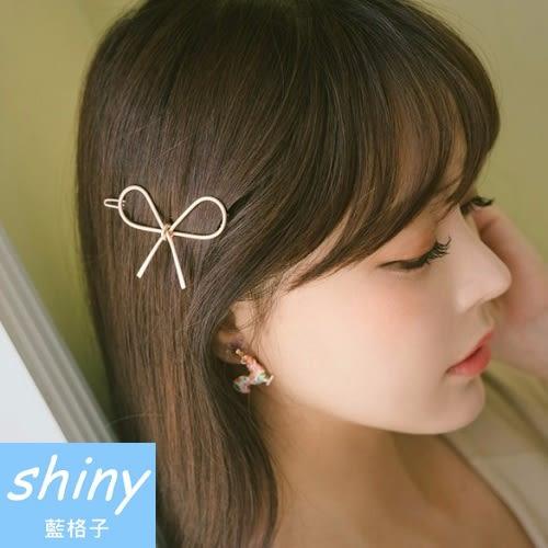 【DJB1205】shiny藍格子-鏤空金屬蝴蝶結髮夾