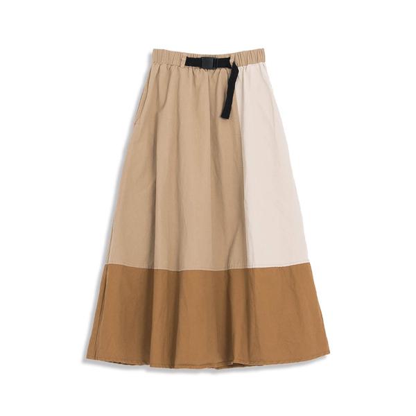 Queen Shop【03020625】大地拼色腰帶設計A字裙*現+預*