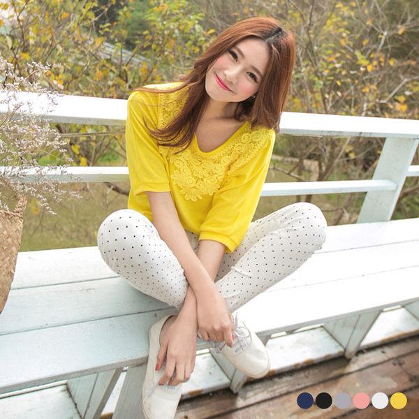 OrangeBear《AA6241》綺麗格調~素色布蕾絲裝飾連袖上衣.6色--適 XL~6L