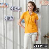 【JEEP】女裝圖騰轉印吸濕排汗POLO衫-橘黃色