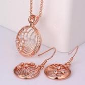 玫瑰金銀飾套裝含項鍊+耳環-圓盤鑲鑽生日情人節禮物女飾品2色73bv16【時尚巴黎】
