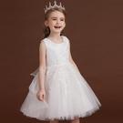 女童禮服 兒童禮服白色花童公主裙洋氣女童蓬蓬紗裙子女孩走秀鋼琴演出服夏-Ballet朵朵