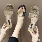 仙女高跟涼鞋女時尚外穿2020夏季新款網紅爆款拖鞋水晶跟一字拖XL4220【東京衣社】