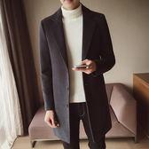 春秋季男士風衣新款韓版修身型中長款呢子外套男款毛呢大衣潮  9號潮人館