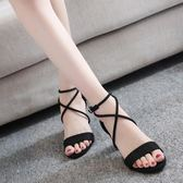 涼鞋女中跟高跟鞋2018新款夏季韓版百搭學生粗跟一字扣帶羅馬女鞋
