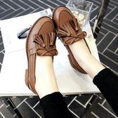 牛津鞋 英倫風流蘇蝴蝶結單鞋女粗跟學生休閒小皮鞋大碼女鞋 免運