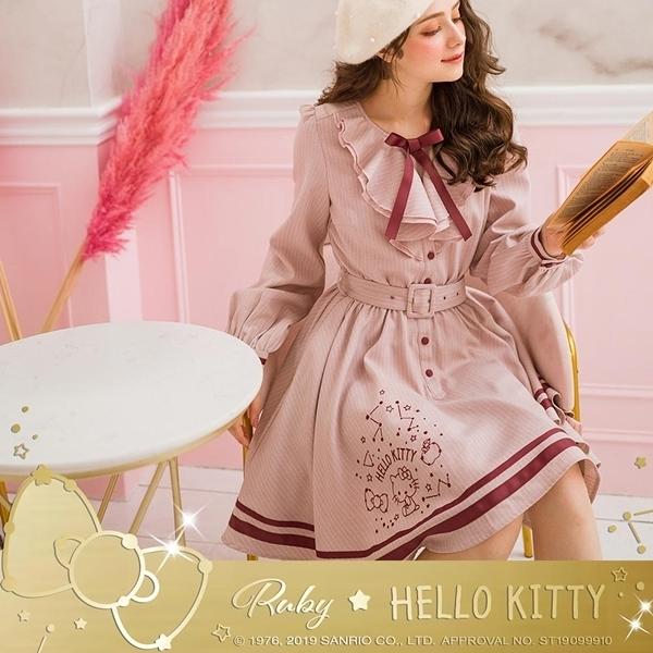 洋裝 Hello Kitty x Ruby 聯名款.條紋荷葉腰帶長袖洋裝-Ruby s 露比午茶
