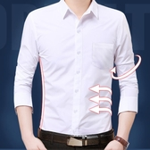 長袖襯衫 正韓男士長袖襯衫 純色白色襯衣商務修身休閒職業工裝【快速出貨八折搶購】