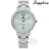 SE Sapphire / SE032L02G / 精彩時刻珍珠母貝藍寶石水晶不鏽鋼手錶 淺湖水綠色 31mm