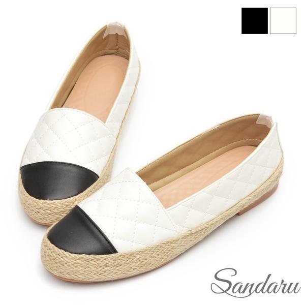 懶人鞋 輕巧菱格紋皮革編織休閒鞋-白