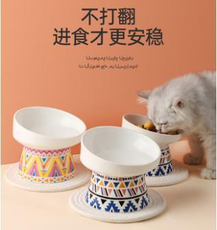 寵物餵食器 貓碗陶瓷雙碗貓咪高腳保護頸椎糧盆防打翻狗狗飯碗食盆飲水碗用品