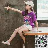 童裝女童短袖T夏季兒童純棉卡通T恤打底衫中大童上衣【風之海】