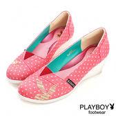 PLAYBOY-GOPLAY 點點 甜美 楔型-娃娃鞋-桃