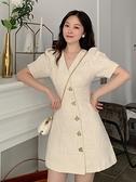 洋裝 夏季法式復古赫本風V領氣質泡泡短袖裙子收腰顯瘦連身裙女潮 芊墨左岸
