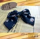 【YT店髮飾】深黑藍底花朵浪漫甜美大蝴蝶結髮夾/髮飾/頭飾/彈簧夾(G004)
