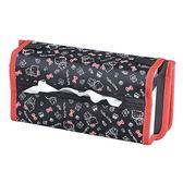 〔小禮堂〕Hello Kitty 車用椅背置物架面紙套《黑紅.滿版》面紙盒.紙巾套.收納架 4905339-86477