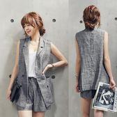 馬甲女春新款韓版女裝亞麻無袖西裝短褲兩件套休閒夏季薄款馬甲套裝 伊蒂斯女裝