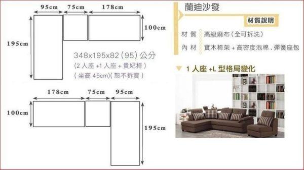 【新北大】✪C325-3 蘭迪L型布沙發 (左向、全組) -18購