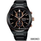 【僾瑪精品】SEIKO 精工 SPIRIT 太陽能 二地時間計時運動錶-黑/41mm/V195-0AE0K(SBP039J)
