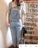 EASON SHOP GU1114 藍色丹寧水洗大口袋牛仔吊帶褲S XL 韓國顯瘦淺色寬鬆