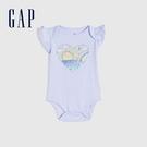 Gap嬰兒 布萊納系列 甜美印花荷葉邊連身衣 681680-淡紫色