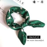 好康618 小絲巾女小方巾裝飾韓版圍巾馬卡通圖案