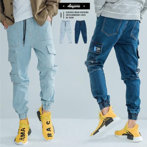 牛仔褲 美式重磅彈力丹寧多口袋縮口工裝牛仔褲 【H6925】長褲 工作褲 多口袋 縮口褲 丹寧褲